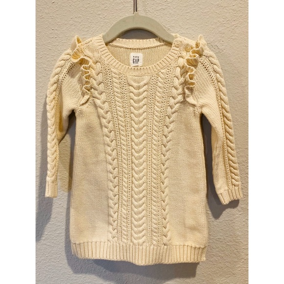 Baby Gap Toddler Kids Cable Knit Dress Cream